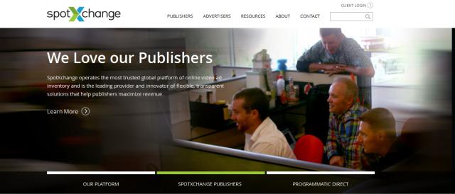 Le site de l'entreprise SpotXchange.