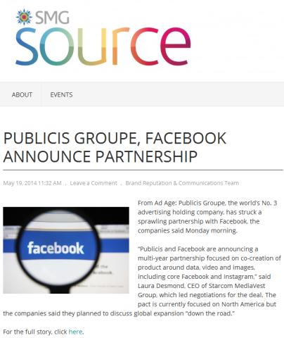 Publicis signe une chèque de 500 M$ à Facebook. Au menu : data, Instagram, vidéo et mobile…