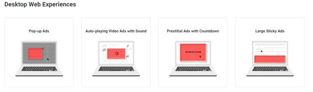"""Le formats à bannir sur desktop, selon la """"Coalition for Better Ads""""."""